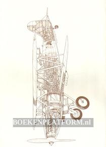 24 opengewerkte tekeningen van oude Fokker vliegtuigen
