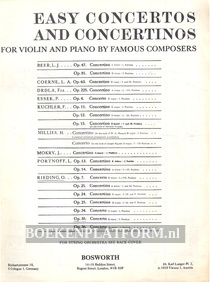 Easy Concertos and Convertinos for Violin and Piano
