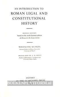 An Introduction to Roman Legal and Constitutional History