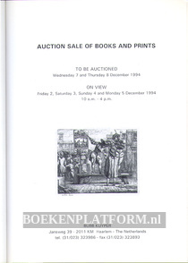 Auction Sale of Books and Prints 12-1994