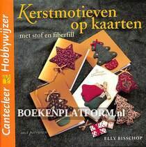 Kerstmotieven op kaarten met stof en fiberfill