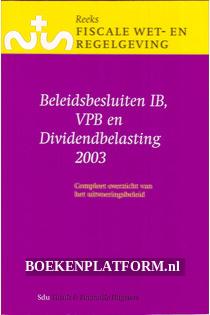 Beleidsbesluiten IB, VPB en Dividend-belasting