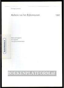 Bulletin van het Rijksmuseum 1992 Inhoudsopgave