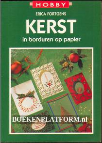 Kerst in borduren op papier